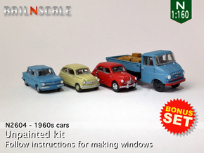BONUS SET 1960s cars (N 1:160) in Frosted Ultra Detail