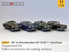 SET 4x Mercedes-Benz Heckflosse (TT 1:120) in Smooth Fine Detail Plastic