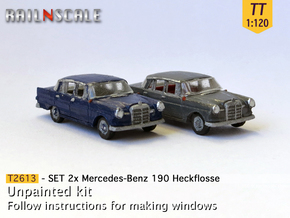 SET 2x Mercedes-Benz 190 (TT 1:120) in Smooth Fine Detail Plastic