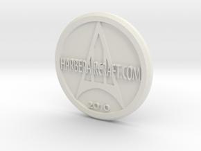 Harber Aircraft logo coin in White Strong & Flexible
