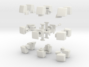 mini 3x3x2 Pillowed (30mm x 20mm) in White Natural Versatile Plastic