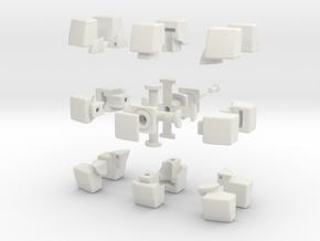 mini 3x3x2 Pillowed (30mm x 20mm) in White Natural Versatile Plastic