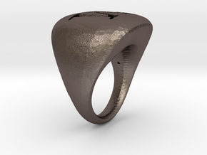 M_initialRingSize9 in Polished Bronzed Silver Steel