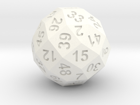 50-side dice (solid core) in White Strong & Flexible Polished