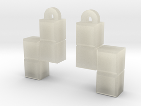 Video Game block earrings in Transparent Acrylic