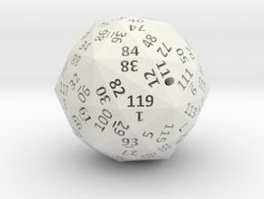 Disdyakis Triacontahedron d120 4cm hollow in White Natural Versatile Plastic