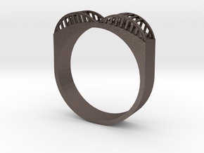 Howard Street Bridge Ring in Polished Bronzed Silver Steel