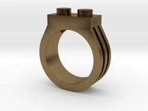 Brick Ring-2 Stud, Size 8 in Natural Bronze