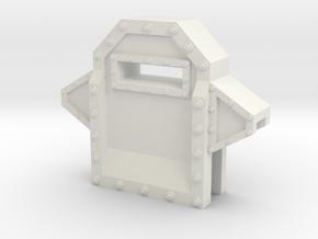 Wall Segment Center Gun Port in White Natural Versatile Plastic