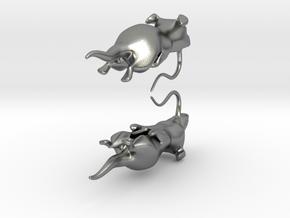 Rat Earings in Natural Silver
