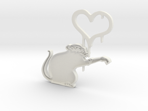 Banksy Rat in White Natural Versatile Plastic