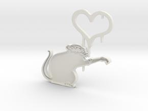 Banksy Rat in White Natural Versatile Plastic