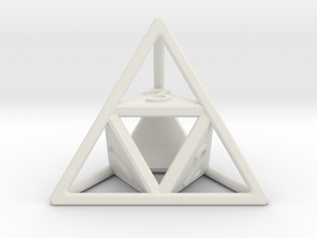 """Open"" d4 - Four-sided die in White Natural Versatile Plastic"
