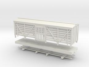 HOn30 28ft Stock car in White Natural Versatile Plastic