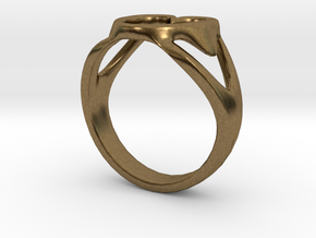 3-Heart Ring in Natural Bronze
