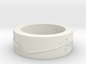 Haskell Peacock Ring Size 6  in White Natural Versatile Plastic
