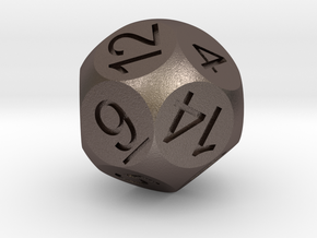 D14 Sphere Dice in Polished Bronzed Silver Steel