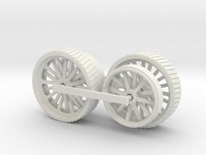 1000-1 Fowler Plough Engine Wheels 1:87 in White Natural Versatile Plastic