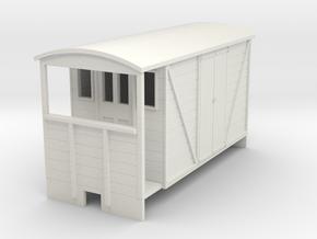 OO9 Brake van (long) with planked door in White Natural Versatile Plastic
