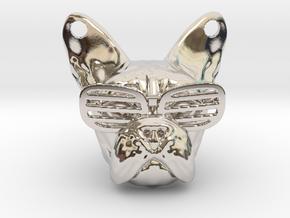 French Bulldog Pendant in Rhodium Plated Brass