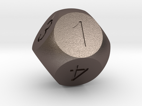 D8 Sphere Dice in Polished Bronzed Silver Steel
