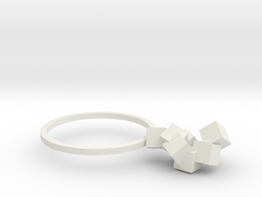 Cubes Ring 03 in White Natural Versatile Plastic