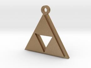 Zelda Triforce Pendant in Matte Gold Steel