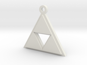 Zelda Triforce Pendant in White Strong & Flexible