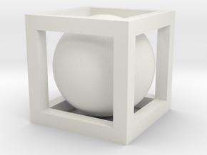 Small Ball In Box in White Natural Versatile Plastic