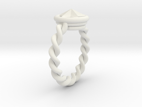 Ringster twist in White Natural Versatile Plastic