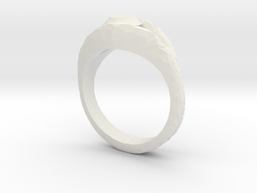 Ring with mock diamond in White Natural Versatile Plastic