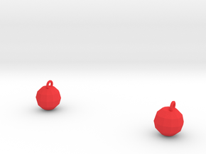 Xmas Ball Earrings in Red Processed Versatile Plastic