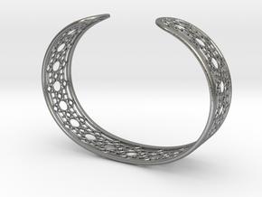 Intricate Geometric Pattern Cuff Bracelet in Natural Silver