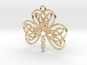 Shamrock Knot Pendant 1.25 Inch in 14K Yellow Gold