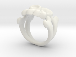 Skull & Crossbones Ring (L)  in White Strong & Flexible