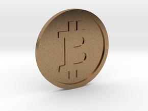 Coin Size bitcoin in Natural Brass