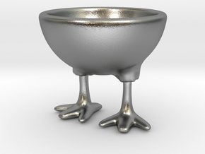 Feet Egg Cup in Natural Silver