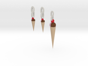 Ice Cream Pendant And Earrings in Full Color Sandstone
