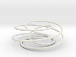 Cinquefoil Knot, 6cm thin version in White Natural Versatile Plastic