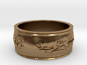 Regent Dragon Ring Size 8 in Natural Brass