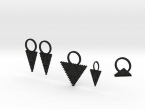 Tessellation Triangle Jewelry Set in Black Natural Versatile Plastic
