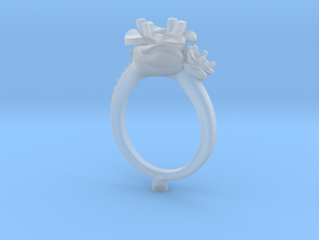 CD266- Flower Engagement Ring 3D Printed Wax . in Frosted Ultra Detail