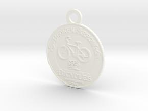 Broken Arrow Bicycles Medallion in White Processed Versatile Plastic