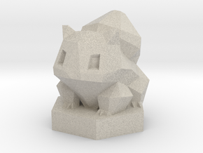 Low-poly Ivysaur With Stand in Natural Sandstone