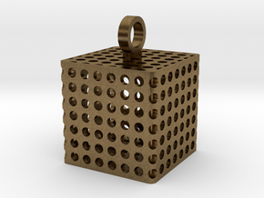 Perforated Cube Pendant  in Natural Bronze