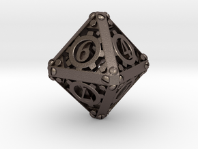 Steampunk d8 in Polished Bronzed Silver Steel