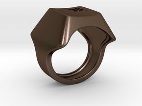 Keyboard Ring in Polished Bronze Steel