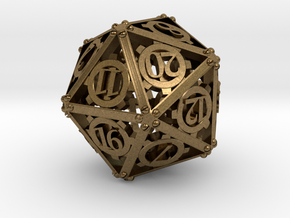 Steampunk d20 in Natural Bronze