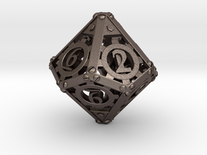 Steampunk d10 in Polished Bronzed Silver Steel
