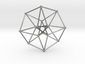 Toroidal Hypercube 50mm 1mm Time Traveller in Natural Silver